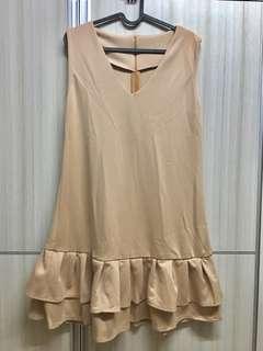 Ruffle Dress Nude