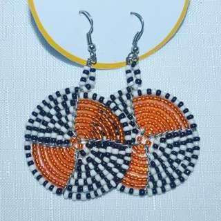Afrix Orange beaded earrings