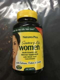 Natures Plus Source of Life Women Multi Vitamin and Mineral Supplement with Whole Food Concentrates