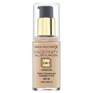 MAX FACTOR FACEFINITY ALL DAY FLAWLESS 3 IN 1 PRIMER, CONCEALER AND FOUNDATION ALL IN ONE WITH SPF 20 #40 #45