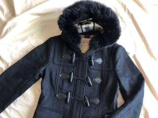 賠本出售有緣人快來😭)Burberry 經典學院風排扣修身羊毛大衣(帽緣毛可拆)