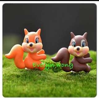 🚚 Terrarium Figurines, Accessories, Miniature - Scrapbooking, Gardening, Home Decor, Mini Landscape, Photo Frame, Plants, Card Making, Beach, Seaside, Ocean Theme etc - Set of 2 Squirrel Chipmunk (Orange & Brown)