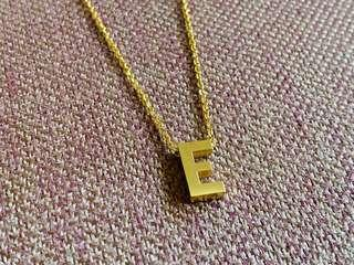 Stainless Gold Necklace - Letter E