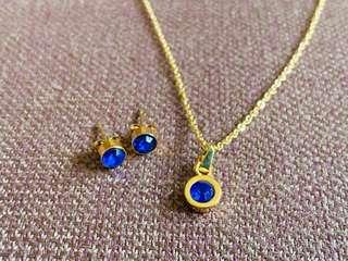 Stainless Gold Necklace and Earrings Set
