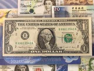 RARE 1988 United States US$1 Federal Reserve Note UNC - Bitten by a dog 🐶 ? 🤣😂😅