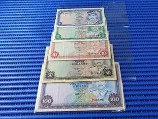 Negara Brunei Darussalam $1, $5, $10, $50 & $100 Note Sultan Hassannal Bolkiah Dollar Banknote Currency ( Lot of 5 pieces )