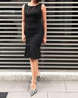 Black Pencil Dress with Peplum Hem