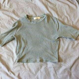 🚚 韓貨 藍綠條紋緊身針織上衣
