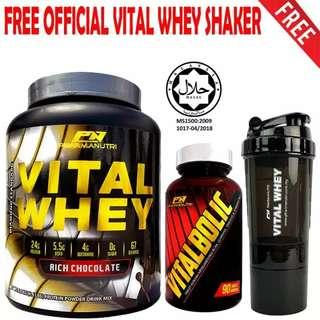 Vitalbolic Muscle Growth Activator, 90 Tablets, 45 Servings (Orange) + Vital Whey 2kg/4.4lbs, Whey Isolate With 24g Protein, 67 Servings - Fast Muscle Recovery (Chocolate Milkshake) + FREE Official 3-in-1 Pharmanutri Vital Whey Protein Shaker (Black)