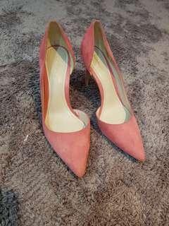 MANGO pink suede heels