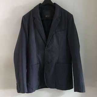 🚚 NET 休閒 西裝外套 紳士|刷白 鐵灰 硬挺款 單排 雙扣|M