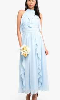 🚚 Zalora Light Blue Ruffles Dinner Dress XL 14 42
