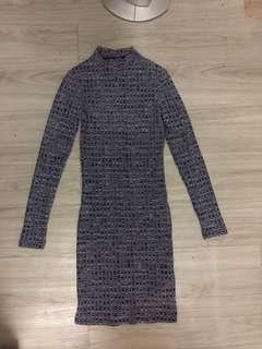 COTTON ON Turtle Neck Long Sleeve Midi Dress
