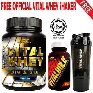 Vitalbolic Muscle Growth Activator, 90 Tablets, 45 Servings (Orange) + Vital Whey 1kg/2.2lbs, Whey Isolate With 24g Protein, 33 Servings - Fast Muscle Recovery (Vanilla) + FREE Official 3-in-1 Pharmanutri Vital Whey Protein Shaker (Black)