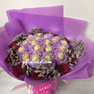 🚚 Roses and Chocolate Bouquet-Birthday Gifts-Anniversary Flowers
