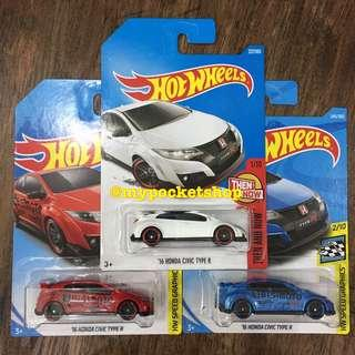 🚚 3x Hot Wheels '16 HONDA CIVIC TYPE R