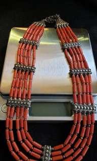 老銀紅珊瑚頸鏈
