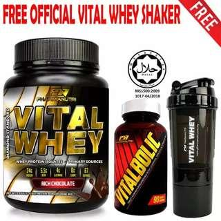 Vitalbolic Muscle Growth Activator, 90 Tablets, 45 Servings (Orange) + Vital Whey 1kg/2.2lbs, Whey Isolate With 24g Protein, 33 Servings - Fast Muscle Recovery (Chocolate Milkshake) + FREE Official 3-in-1 Pharmanutri Vital Whey Protein Shaker (Black)
