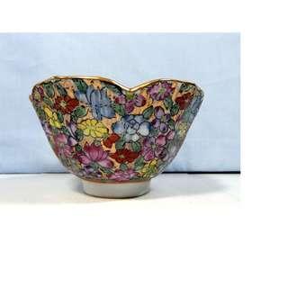 Vintage Canton Famille Rose Medallion bowl floral Fu Lu Shou design circa 1950s