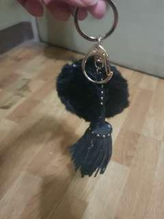 Pompom with tassle bag charm