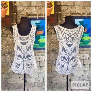 Lace tank top/cover up