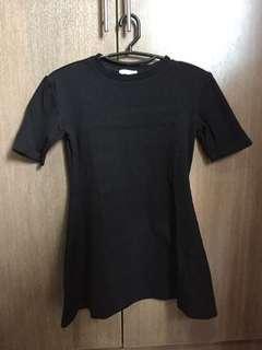 Black Mini Skater Dress (Short Sleeve)
