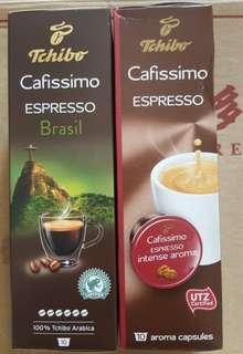 Tchibo Capsules Cafissimo Espresso Brasil  and Espresso Intense aroma