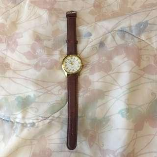 Swissgold Brown Leather and Gold Watch