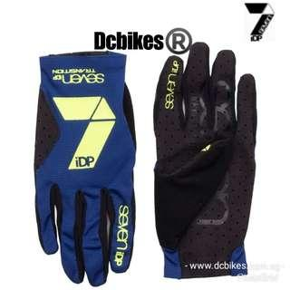 🆕! 7 IDP Navy Transition Neon Yellow MTB Escooter Motorcycle Full Protective Gloves #Dcbikes ( Size Available : M or L )