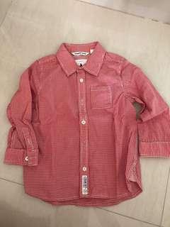 🚚 Boys red button shirt