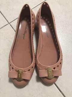 SF Vera bow jelly flats in nude size 6