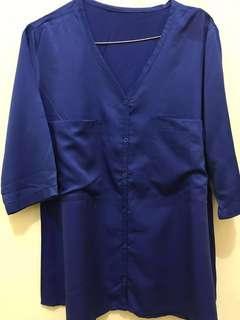 Blue electric blouse 3/4