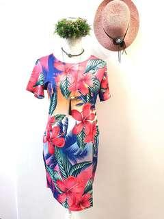 Floral dress a line fitted