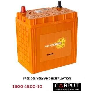 NS40ZL Car battery POWERZONE for PERODUA Myvi, Axia, Alza, Bezza, Viva, HONDA City. Bateri Kereta FREE Delivery & Installation for Klang Valley