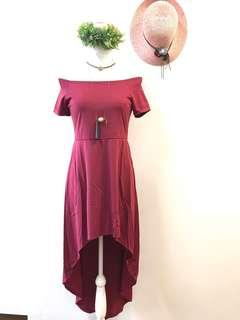 Long back off shoulder dress maroon
