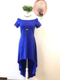Long back dress off shoulder royal blue