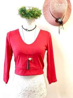 Red vneck blouse semi cropped
