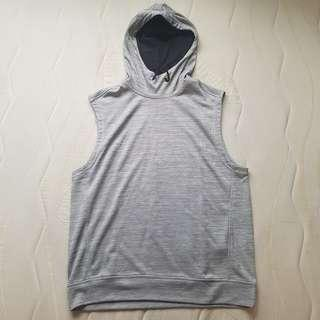 H&M hoodie sleeveless ahtletic shirt top grey men