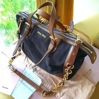 cf44d3988acc Miu Miu Brown Suede Leather Handbag w Bamboo Chain Strap