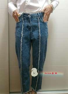 下襬抽鬚特殊拼色牛仔褲