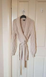 Ladakh cable knit wool blend wrap cardigan small