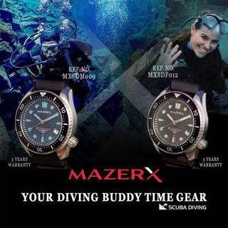 🚚 MAZERX SCUBA DIVING AUTOMATIC SCUBA DIVER 300M COUPLE COLLECTION SET BOX REF. NO. MXSDM009 AND MXSDF012