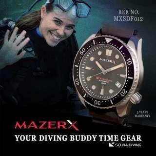 🚚 MAZERX SCUBA DIVING AUTOMATIC SCUBA DIVER 300M REF. NO. MXSDF012