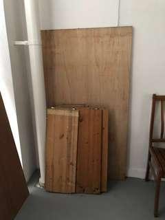 2 single bed plywood & 7 ikea wood shelves