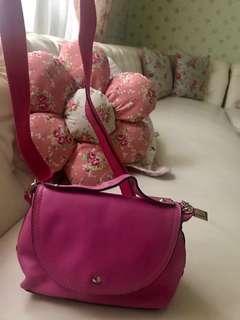 Tas kulit pink fushia