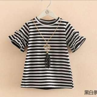 BN 12mths Black and White Striped Shirt with Chain