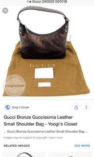 Gucci Bronze Guccissima Leather Small Shoulder Bag