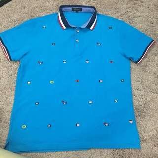 Embroidery Polo Shirt in blue 藍色有領上衣