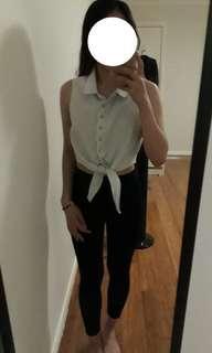Pale blue button up crop tie up shirt