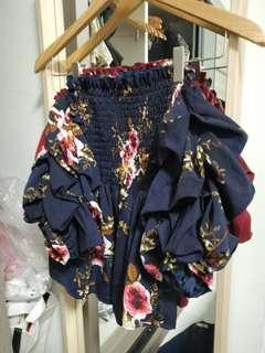 🚚 Floral Off Shoulder Top with Ruched Sleeves in Navy